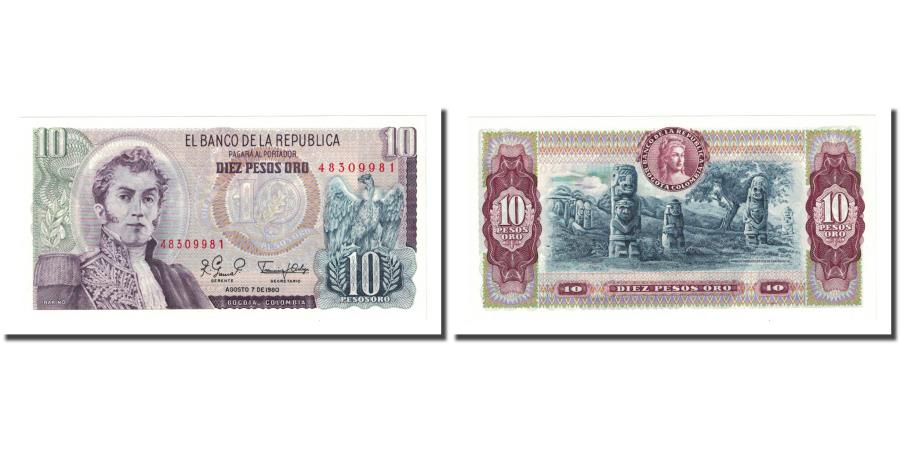 World Coins - Banknote, Colombia, 10 Pesos Oro, 1980-08-07, KM:407g, UNC(65-70)