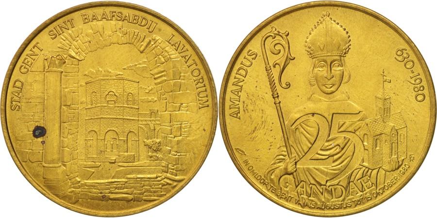World Coins - Belgium, Token, Touristic token, Gent, 25 Gandae, 1980,