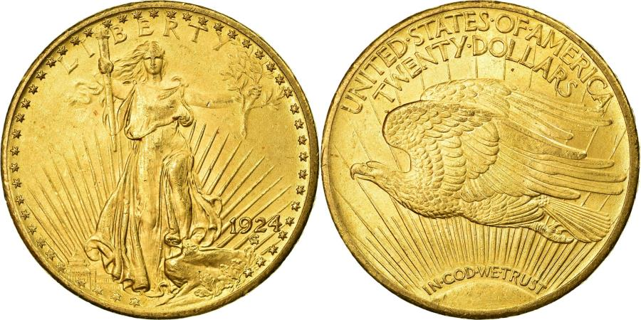 US Coins - Coin, United States, Saint-Gaudens, $20, Double Eagle, 1924, Philadelphia