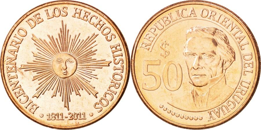 World Coins - URUGUAY, 50 Pesos Uruguayos, 2011, KM #139, , Copper Plated Steel, 28,...