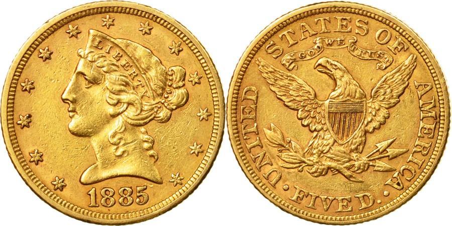 US Coins - Coin, United States, 5 Dollars, Coronet Head, Philadelphia, 1885,