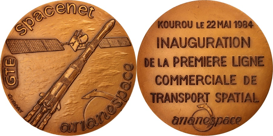 World Coins - France, Arianespace, Premièreligne commerciale de transport spatial, Science