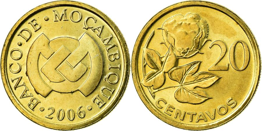 World Coins - Coin, Mozambique, 20 Centavos, 2006, , Brass plated steel, KM:135