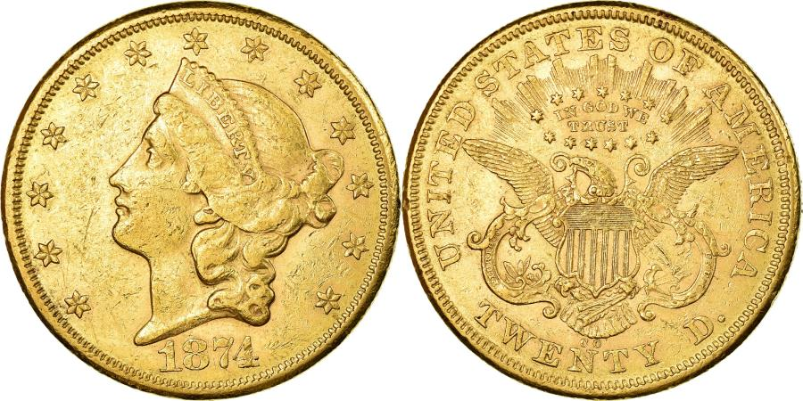 US Coins - Coin, United States, $20, Double Eagle, 1874, Carson City, , Gold