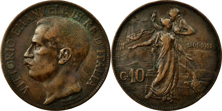 World Coins - Coin, Italy, Vittorio Emanuele III, 10 Centesimi, 1911, Rome, VF(30-35), Bronze