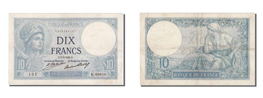 World Coins - France, 10 Francs, 10 F 1916-1942 ''Minerve'', 1928, KM #73d, 1928-03-07,...