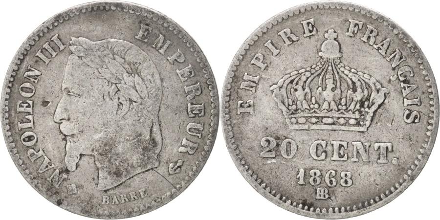World Coins - France, Napoleon III, 20 Centimes, 1868, Strasbourg, , Silver, KM:808.2
