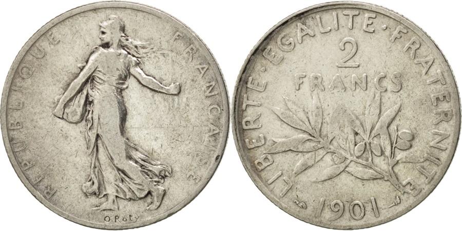World Coins - FRANCE, Semeuse, 2 Francs, 1901, Paris, KM #845.1, , Silver, 27,...