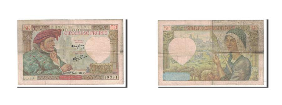 World Coins - Banknote, France, 50 Francs, 1941, 1941-04-24, VF(20-25), Fayette:19.9, KM:93