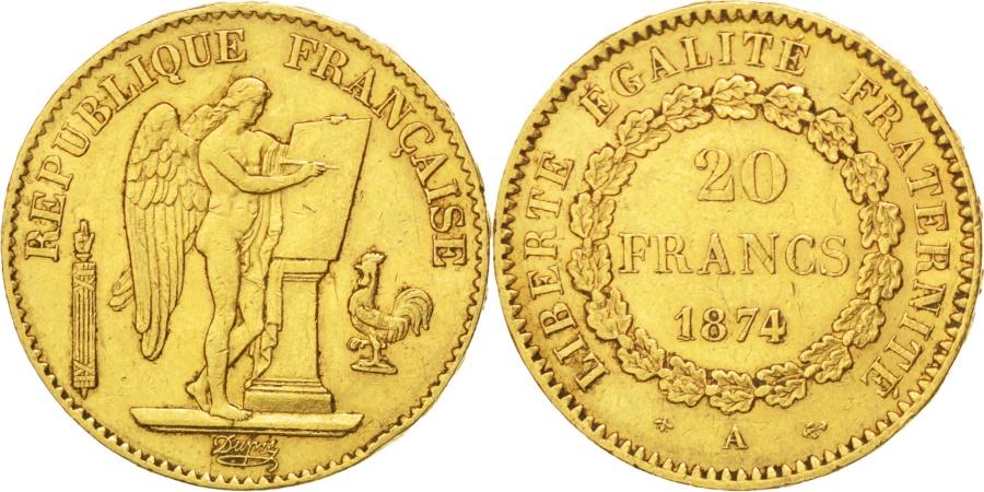 World Coins - FRANCE, Génie, 20 Francs, 1874, Paris, KM #825, , Gold, Gadoury #1063,