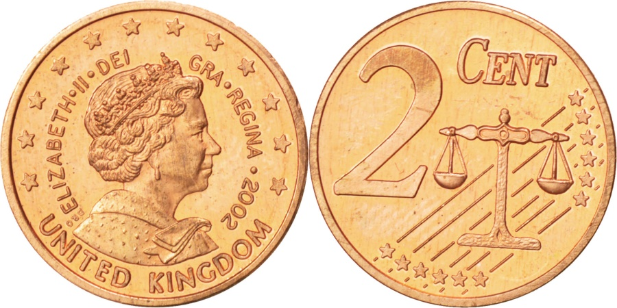 World Coins - UNITED KINGDOM, 2 Euro Cent, 2002, KM #Pn2, , Copper Plated Steel, 18.5,..