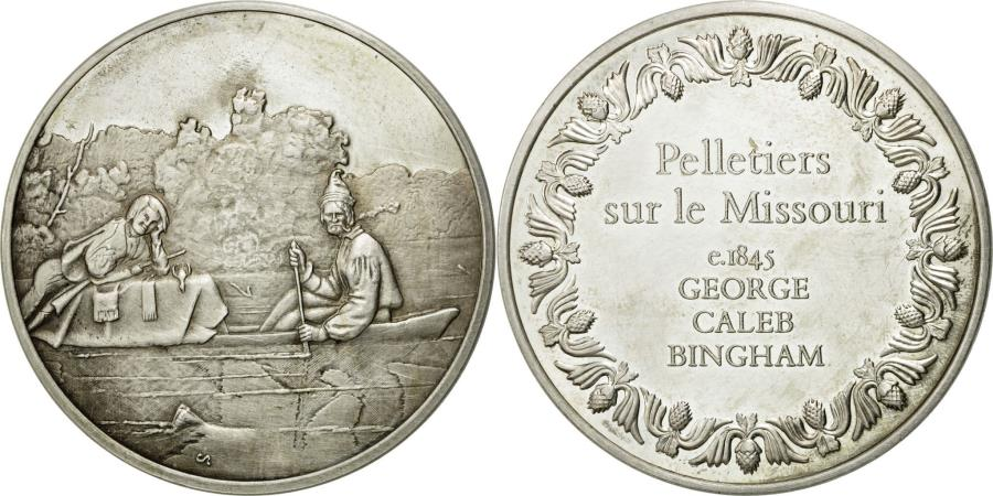 World Coins - France, Medal, Pelletiers sur le Missouri, George Caleb Bingham,