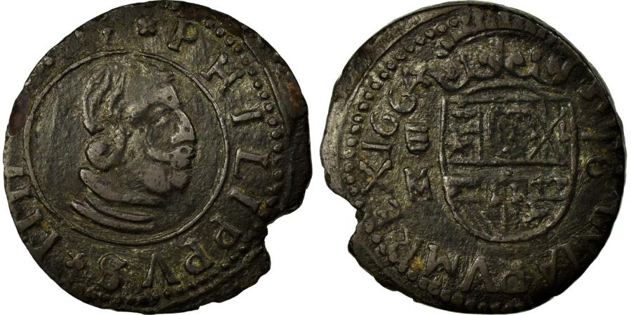 World Coins - Coin, Spain, Philip IV, 16 Maravedis, 1664, Madrid, , Copper, KM:172.5