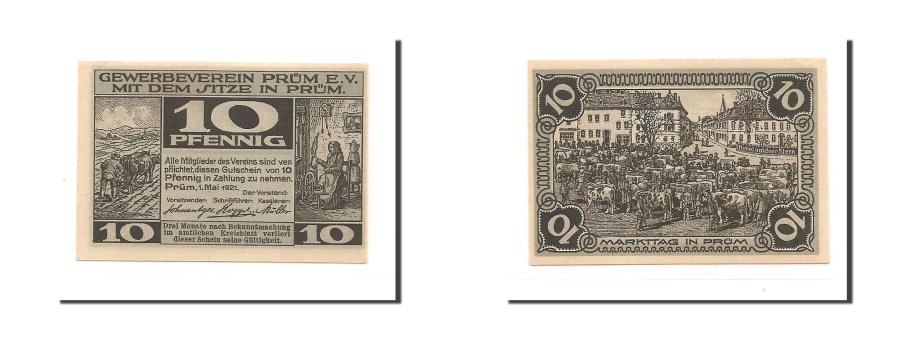 World Coins - Germany, Prum Gewerbeverein, 10 Pfennig, 1921, UNC(63), Mehl #1079.1