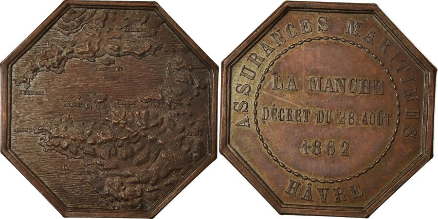 World Coins - France, Token, Insurance, Assurances Maritimes, Hâvre, La Manche, 1862,
