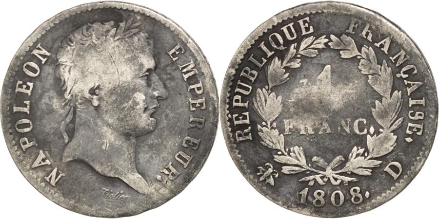 World Coins - FRANCE, Napoléon I, Franc, 1808, Lyon, KM #682.4, , Silver, Gadoury #446