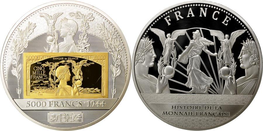 US Coins - France, Medal, Histoire de la Monnaie Française, 5000 Francs 1944,