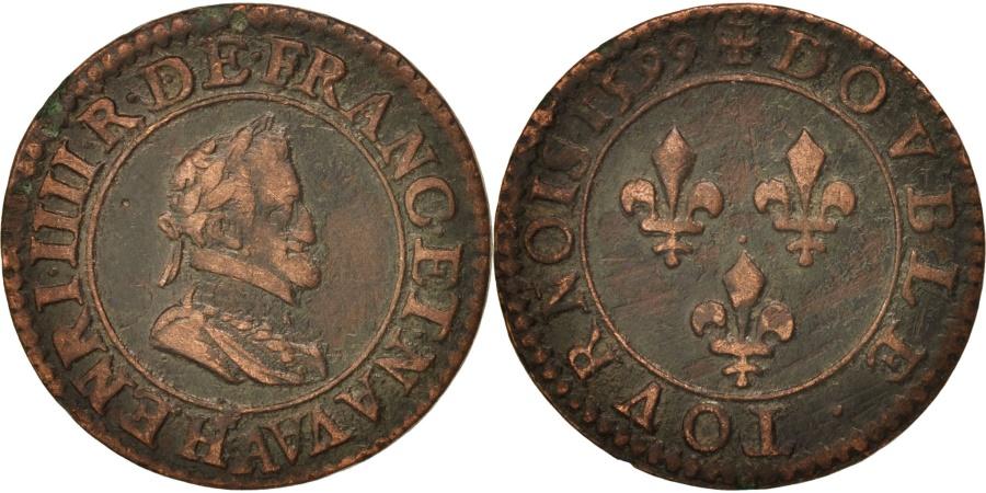 World Coins - France, Henri IV, Double Tournois, 1599, Paris, , Copper, Sombart:4184