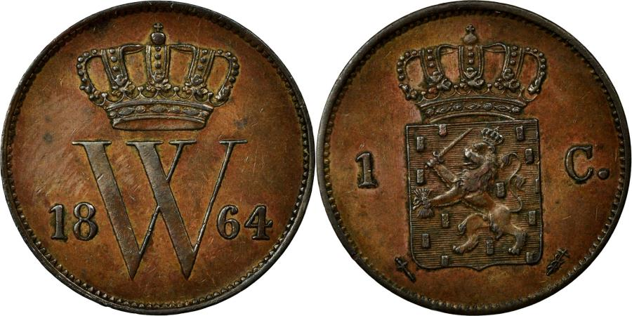 World Coins - Coin, Netherlands, William III, Cent, 1864, MS(60-62), Copper, KM:100