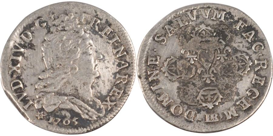 World Coins - FRANCE, 11 Sols aux couronnes de Strasbourg, 10 Sols-1/8 Ecu, 1705, Strasbourg,.