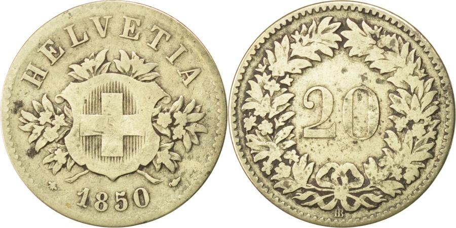 World Coins - SWITZERLAND, 20 Rappen, 1850, Strasbourg, KM #7, , Billon, 3.15