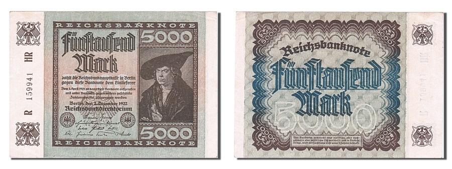 World Coins - Germany, 5000 Mark, 1922, KM #81a, 1922-12-02, AU(55-58), R 159941 HR