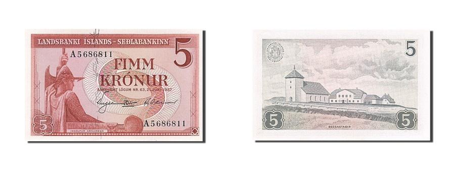 World Coins - Iceland, 5 Krónur, 1957, KM #37a, 1957-06-21, UNC(65-70), A 5686811