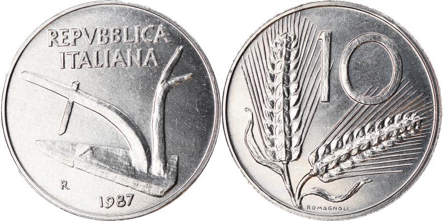 World Coins - Coin, Italy, 10 Lire, 1987, Rome, , Aluminum, KM:93