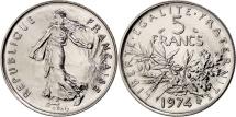 France, Semeuse, 5 Francs, 1974, Paris, MS(65-70), Nickel Clad Copper-Nickel