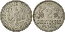 World Coins - GERMANY - FEDERAL REPUBLIC, 2 Mark, 1951, Karlsruhe, AU(50-53), Copper-nickel