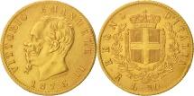 Italy, Vittorio Emanuele II, 20 Lire, 1876, Rome, AU(55-58), Gold, KM:10.2