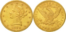 Us Coins - United States, Coronet Head, $10, 1898, Philadelphia, AU(50-53), Gold, KM:102