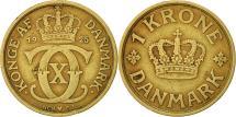 World Coins - Denmark, Christian X, Krone, 1925, Copenhagen, EF(40-45), Aluminum-Bronze