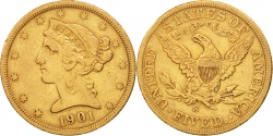 Us Coins - United States, Coronet Head, $5, 1901, San Francisco,,KM 101