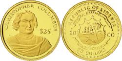 World Coins - Liberia, 25 Dollars, C.Colomb, 2000, American Mint, MS(65-70), Gold, KM:626