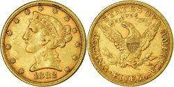 Us Coins - Coin, United States, Coronet Head, $5, Half Eagle, 1882, Philadelphia