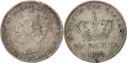 World Coins - Greece, George I, 20 Lepta, 1883, Paris, , Silver, KM:44