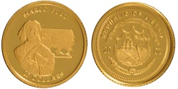 World Coins - Liberia, 25 Dollars, 2001, MS(65-70), Gold, 0.73