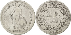 World Coins - SWITZERLAND, 2 Francs, 1878, Bern, KM #21, , Silver, 27.4, 9.63