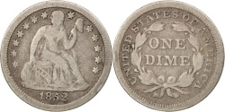 Us Coins - United States, Seated Liberty Dime, 1852, Philadelphia, F, KM:63.2