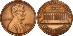 Us Coins - United States, Lincoln Cent, 1971, Philadelphia, AU(50-53), KM:201