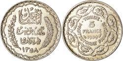 World Coins - Coin, Tunisia, Ahmad Pasha Bey, 5 Francs, 1939, Paris, , Silver, KM:264