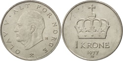 World Coins - NORWAY, Krone, 1977, KM #419, , Copper-Nickel, 25, 6.99