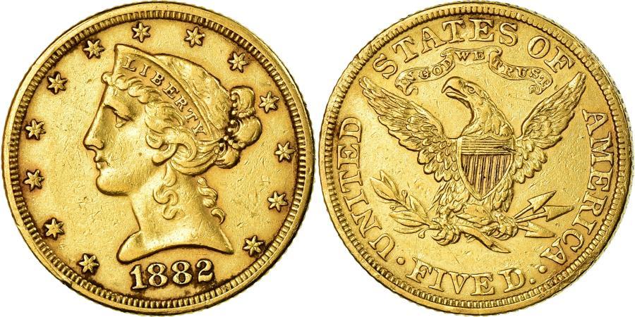 US Coins - Coin, United States, Coronet Head, $5, Half Eagle, 1882, U.S. Mint