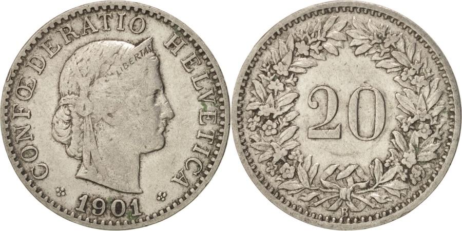 World Coins - Switzerland, 20 Rappen, 1901, Bern, , Nickel, KM:29