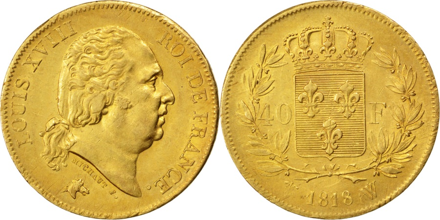 World Coins - FRANCE, Louis XVIII, 40 Francs, 1818, Lille, KM #713.6, , Gold,...