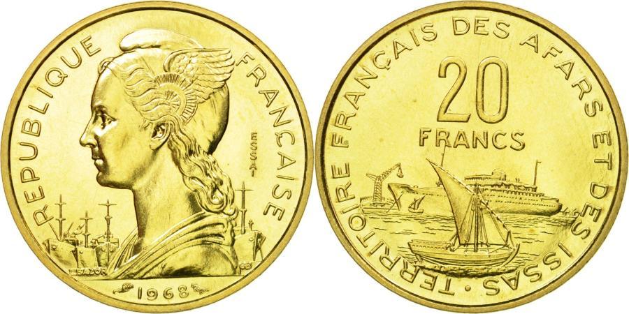 World Coins - Coin, FRENCH AFARS & ISSAS, 20 Francs, 1968, Paris, ESSAI,