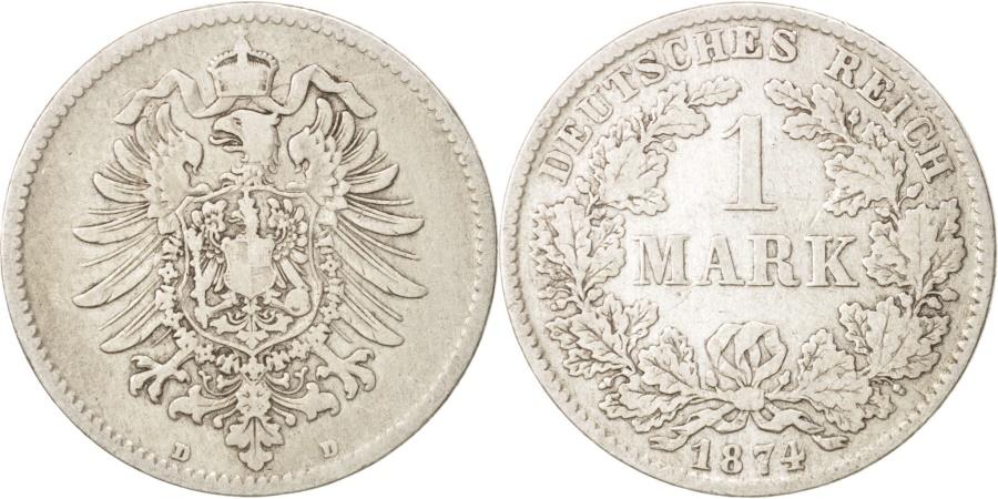 World Coins - GERMANY - EMPIRE, Wilhelm I, Mark, 1874, Munich, , Silver, KM:7