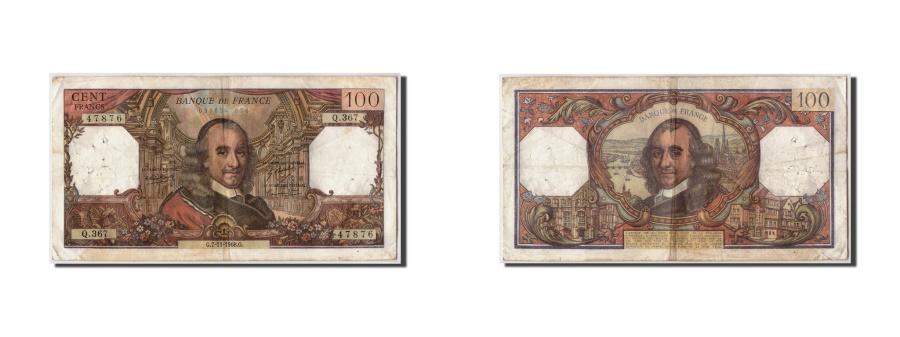 World Coins - France, 100 Francs 1964-1979 ''Corneille'',KM:149c,1968-11-07,VF(30-35)