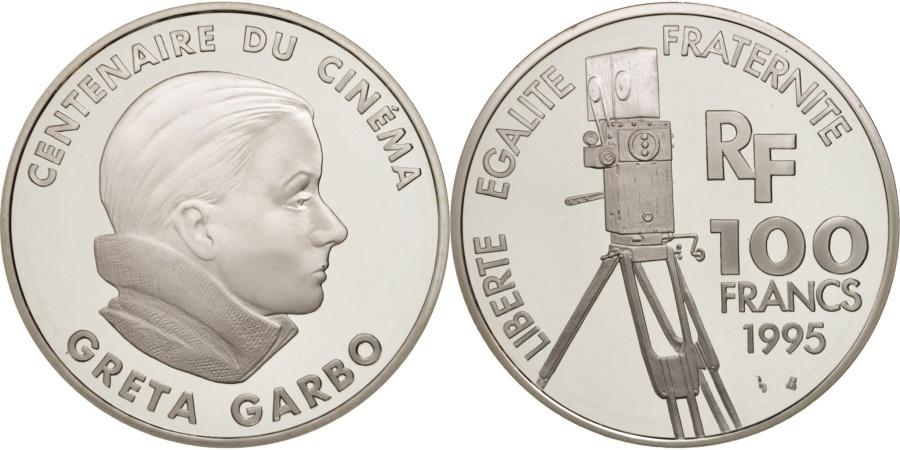 World Coins - France, 100 Francs, Greta Garbo, 1995, Paris, , Silver, KM:1092